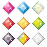 O grupo de cristais diferentes da cor dos desenhos animados, pedras preciosas, diamantes vector a coleção dos ativos do GUI para  ilustração do vetor