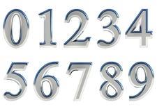 O grupo de 3D rendeu os números, 0-9 Cor lustrosa de prata no fundo branco para o uso fácil ilustração royalty free