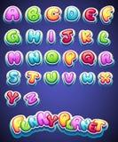 O grupo de desenhos animados coloriu letras para a decoração de nomes diferentes para jogos livros e design web