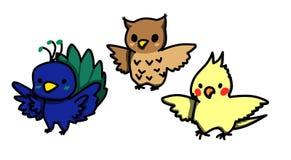 O grupo de desenhos animados denominou pássaros bonitos peacock Coruja Cockatiel Imagens de Stock