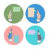 O grupo de desenhos animados escreve com sinais para palavras Foto de Stock