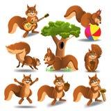 O grupo de desenhos animados squirrels fazer atividades diferentes isolados em um fundo branco ilustração do vetor