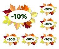 O grupo de disconto do outono etiqueta com as folhas coloridas Fotografia de Stock Royalty Free