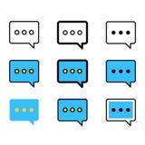 O grupo de discurso borbulha ícones Ícones da mensagem do bate-papo Fotos de Stock Royalty Free