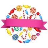O grupo de doces circunda a forma com o sinal vazio Imagem de Stock Royalty Free