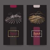 O grupo de duas etiquetas do vinho com vinhedo ajardina ilustração stock