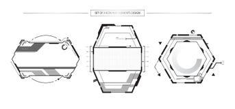 O grupo de 3 elementos abstratos do ícone da tecnologia de HUD objeta o projeto ilustração royalty free