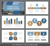 O grupo de elementos azuis e marrons para o molde de múltiplos propósitos da apresentação desliza com gráficos e cartas Folheto,  Fotografia de Stock Royalty Free