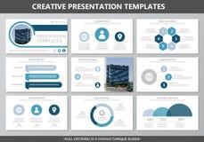O grupo de elementos cinzentos e azuis para o molde de múltiplos propósitos da apresentação desliza com gráficos e cartas Folheto Foto de Stock Royalty Free