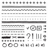 O grupo de elementos do desenho da mão para edita e seleciona Foto de Stock Royalty Free