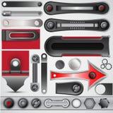 O grupo de elementos do metal para o projeto Imagens de Stock