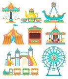 O grupo de elementos do projeto do parque de diversões, alegre vai círculo, carrossel, tenda do circus, roda de ferris, trem, vet ilustração do vetor
