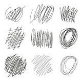 O grupo de emaranhados tirados vetor, linhas, círculos, elipses rabisca o esboço Linha preta forma do garrancho do sumário Vetor ilustração do vetor