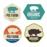 O grupo de emblemas frescos da carne de carne de porco da exploração agrícola de porco projeta, logotipo, etiqueta, símbolo Fotografia de Stock Royalty Free