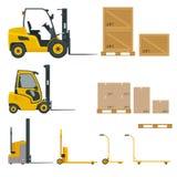 O grupo de empilhadeiras alaranjadas em várias combinações, armazenamento submete, páletes com os bens para o infographics ilustração stock