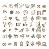 O grupo de estilo do vintage rabisca ícones Imagens de Stock Royalty Free