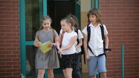O grupo de estudantes está indo dirigir após lições Amigos para nunca Tempo da escola Alunos felizes video estoque
