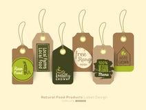O grupo de etiqueta saudável orgânica do alimento e a etiqueta da etiqueta projetam ilustração do vetor