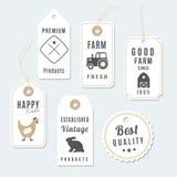 O grupo de exploração agrícola superior do vintage etiqueta, etiquetas, ilustração Foto de Stock Royalty Free
