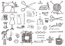O grupo de ferramentas e materiais da costura ou as ferramentas para fazer malha ou fazem crochê para o bordado Equipamento feito ilustração do vetor