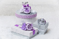 O grupo de flor decorou as caixas atuais Fotos de Stock Royalty Free