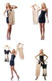 O grupo de fotos com a mulher que tenta a roupa nova Imagens de Stock Royalty Free