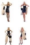 O grupo de fotos com a mulher que tenta a roupa nova Imagens de Stock