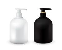 O grupo de frasco com sabão líquido para seus logotipo e projeto é fácil mudar cores Cosmético preto e branco realístico ilustração royalty free