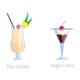 O grupo de frio alcoólico do fruto dos cocktail bebe o frescor do colada do pina e o tequila tropicais do doce do álcool do parti ilustração do vetor