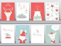 O grupo de fundo bonito do Feliz Natal com animal bonito e inverno veste-se, animal bonito, ilustrações do vetor Fotografia de Stock Royalty Free