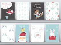 O grupo de fundo bonito do Feliz Natal com animal bonito e inverno veste-se, animal bonito, ilustrações do vetor Imagens de Stock