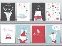 O grupo de fundo bonito do Feliz Natal com animal bonito e inverno veste-se, animal bonito, ilustrações do vetor Foto de Stock