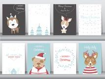 O grupo de fundo bonito do Feliz Natal com animal bonito e inverno veste-se, animal bonito, ilustrações do vetor Foto de Stock Royalty Free