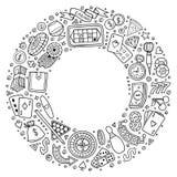 O grupo de garatuja dos desenhos animados do casino objeta, símbolos e artigos ilustração stock
