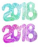 O grupo de garatuja numera 2018 com teste padrão do boho e o fundo da aquarela com espirra Ano novo Imagens de Stock
