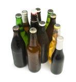 O grupo de garrafas de cerveja isolou o tiro do estúdio Foto de Stock Royalty Free