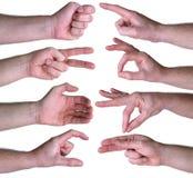 O grupo de gestos cede o fundo branco Imagens de Stock Royalty Free