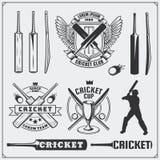 O grupo de grilo ostenta símbolos, etiquetas, logotipos e elementos do projeto Emblemas do grilo e elementos do equipamento Foto de Stock Royalty Free