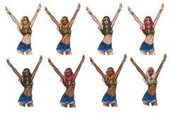 O grupo de hippie modela em cores do cabelo e em tons de pele diferentes Foto de Stock