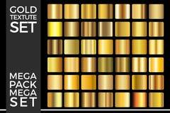 O grupo de inclinações do ouro, coleção dourada do vetor dos quadrados, Textures o grupo imagem de stock