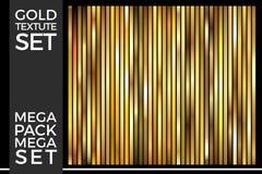 O grupo de inclinações do ouro, coleção dourada do vetor dos quadrados, Textures o grupo fotografia de stock