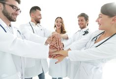 O grupo de internos médicos mostra sua unidade Imagem de Stock