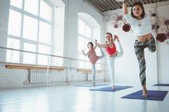 O grupo de ioga feliz nova da prática da mulher levanta a classe interna treinamento do grupo imagens de stock