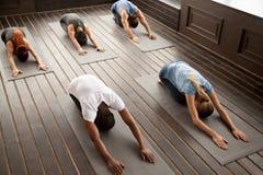 O grupo de jovens na criança levanta, vista superior imagem de stock royalty free