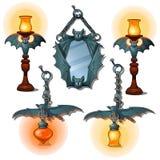 O grupo de lâmpadas e o espelho no bastão formam Artigo interior ilustração royalty free