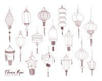 O grupo de lanternas da rua do papel chinês de tipos diferentes e os tamanhos entregam tirado com linhas de contorno Pacote de tr ilustração stock