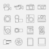 O grupo de linha ícones da câmera do estilo vector a ilustração Fotografia de Stock