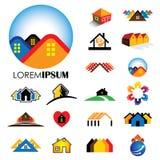 O grupo de linha ícones de construções vector logotipos Imagens de Stock Royalty Free