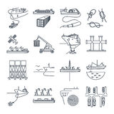 O grupo de linha fina ícones molha o transporte e o porto marítimo, navio ilustração stock