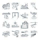 O grupo de linha fina ícones molha o transporte e o porto marítimo, petroleiro do gás ilustração stock